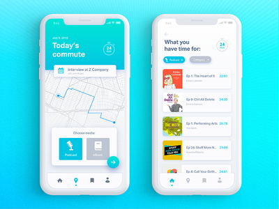 The Daily Hack 8 - Automated Podcast Choose for Commutes directions automation daily ui ux gradient podcast commute book mobile app map
