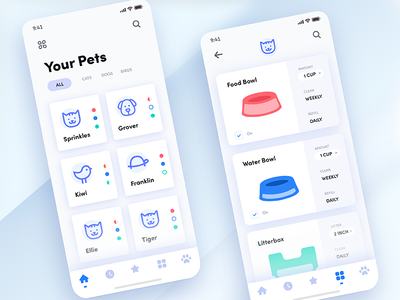 The Daily Hack 9 - Automated Pet App gradient tech illustration automation cards app mobile pet challenge ui daily