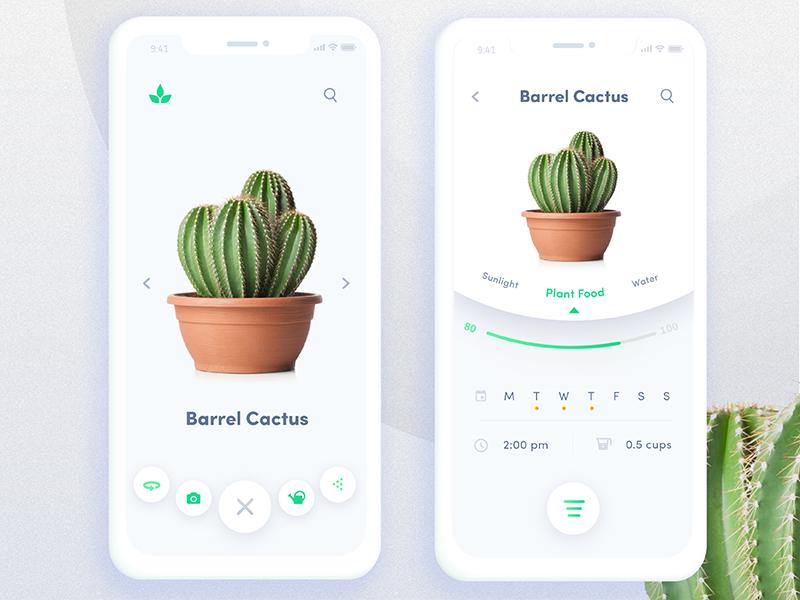 Automated Hack #12 - Automated Plant App gradient cactus automation plant menu app mobile ux ui daily challenge automated