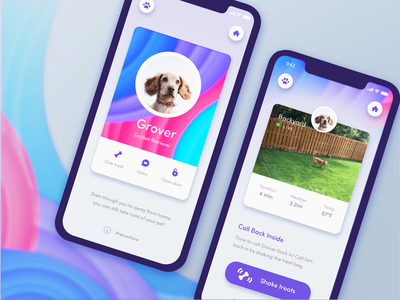 Automated Hack #18 - Remote Pet App logo fashion automation drop shadow home security camera rainbow dog icon pet dog colorful gradient card app mobile daily ui ui challenge daily
