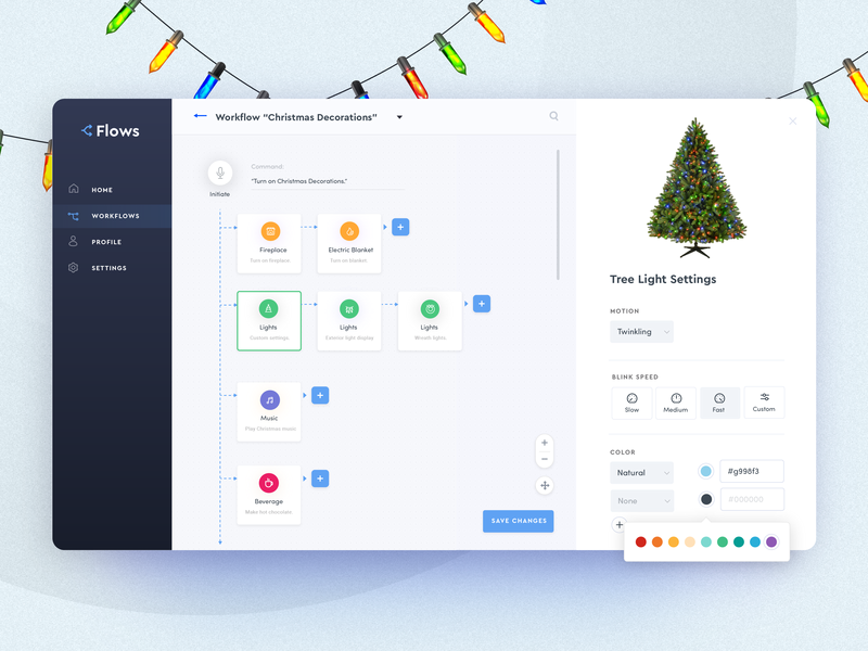 Automated Hack #19 - Automated Holiday Decorations ui clean holiday settings tree steps flowchart website webpage dashboard decorations automation christmas