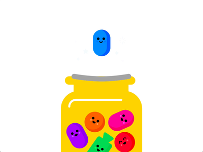 Jelly Bean Jumper gifanimated happy cute purple green blue pink jellybean bean trampoline jumping jump premiere adobexd colorful candy animated autoanimate gif animation