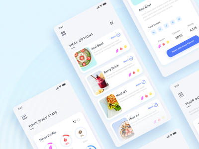 Automated Biometrics App case study 2019 creative resident adobe colorful bright branding eat health taste tongue minimal card food meal gradient blue mobile app biomedical