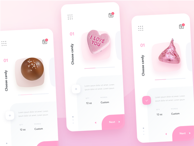 💕Valentine's Day App (Automated Hack #22) pink candy heart navigation ios menu date food flat design card button branding ux ui gradient color palette mobile app valentines day