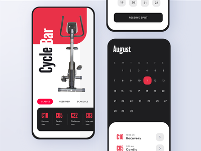 Cycle Bar App - Adobe XD Daily Creative Challenge Livestream cool modern clean graphics icons ux design rounded minimal exercise schedule schedule reservation calendar exercise exercise app bicycle bike cycle challenge ui