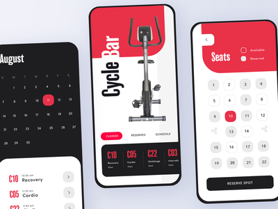 Cycle Bar App - Adobe XD Daily Creative Challenge Livestream 2 st louis freelance application design simple rounded button calendar exercise bicycle bike illustration minimal ux card app mobile daily ui challenge ui