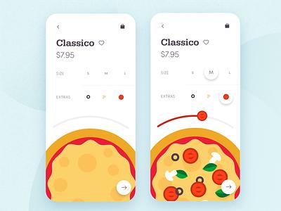 Pizza Ordering App classic flat food st louis app design design menu order restaurant product design application pizza illustration minimal ux card app mobile challenge ui