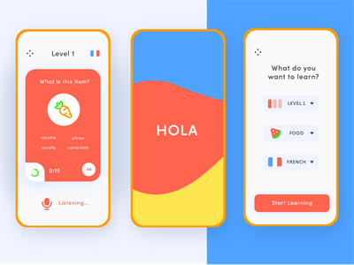 Language Learning App - Adobe XD Daily Creative Challenge freelance audio kid kids french spanish read school learn language design vx minimal ux card app mobile daily challenge ui