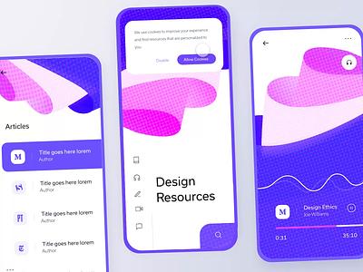 Design Resources App for IXDD saint louis freelance blending modes blending color tones pink livestream menu colorful purple icons halftone ui ux app mobile design resources adobe xd adobe ixdd