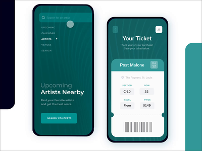 Concert Booking App purchase ux ui stadium card artist post malone midwest saint louis freelance designer mobile app ticket app ticket booking animation prototype booking concert ticket