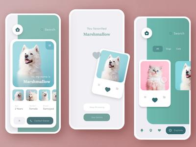 🐶Pet Adoption App adobe dailycreativechallenge livestream swipe cards animation prototyp pets animal dog minimal adoption pet design freelance app mobile dailychallenge daily adobexd