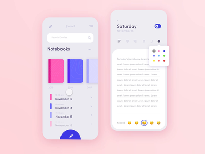 ✏️Journalling App Dark vs. Light Mode daily ui diary dark theme dark ui toggle mood app mood writing journalling journal app write draw pencil note journal dark light mode dark mode