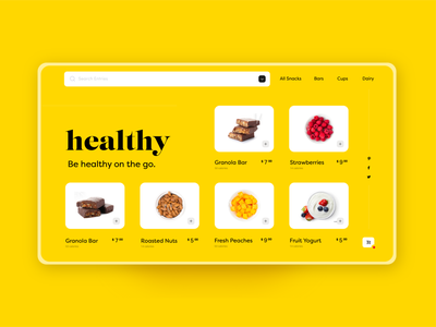 🍏Healthy Food Website cart search fruit product ecommerce shop health snacks landing page food healthy adobexd dailycreativechallenge daily ui ux app mobile daily challenge ui