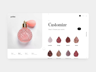 🌸Customizable Perfume Website adobe xd prototype animation scrolling ui design freelance modern customize product perfumes website customize lavender scent pink perfume minimal design daily challenge ui