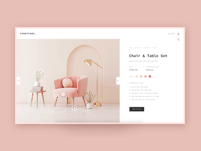 🌷Modern Furniture Website animation prototype web design website purchase ecommerce table chair pastel clean modern product furniture minimal pink design gradient ux daily ui