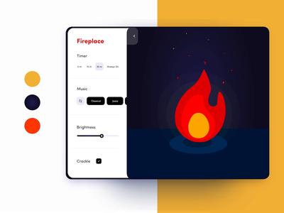 🔥Animated Fireplace Tablet App ux ui prototype campfire animated animation illustration nighttime night orange freelance designer ipad tablet holiday christmas winter fireplace fire