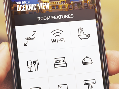 The Grand Colonnar Mobile App Room Features room features logo colon easy hotel news app mobile ux ui 6noran