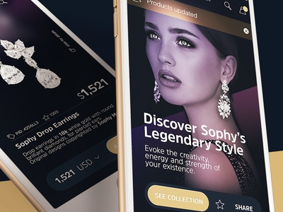 mobile jewellery store sexy ecommerce cart startup design uidesign jewel mobile inspiration ux ui 6noran