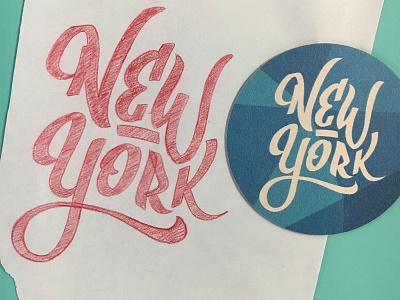 New York coaster coaster lettering