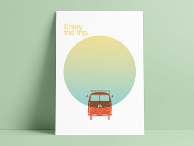 Enjoy the trip letterpress poser poster letterpress bus volkswagen