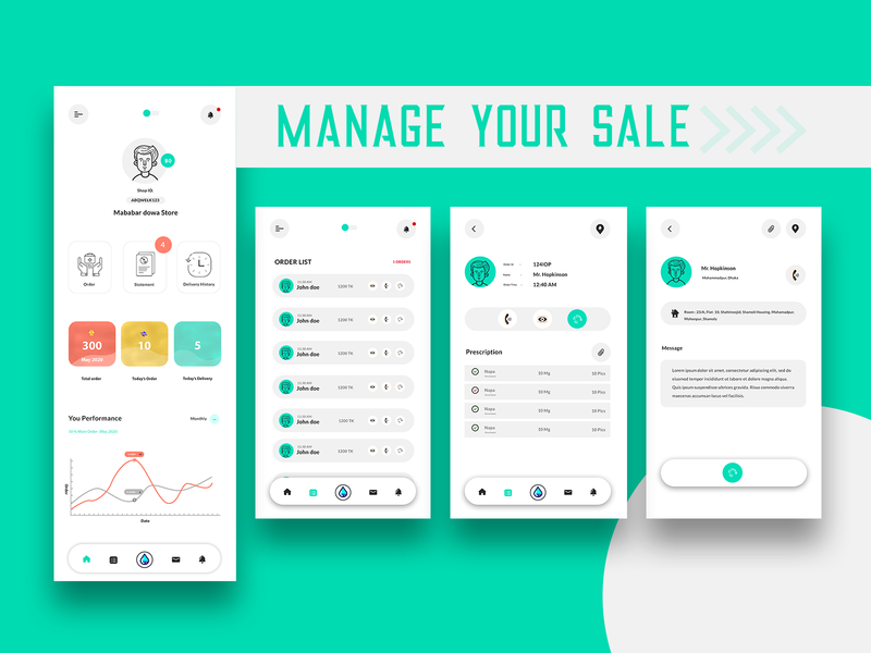 Sale Management medicine uiux mobile app managment shop