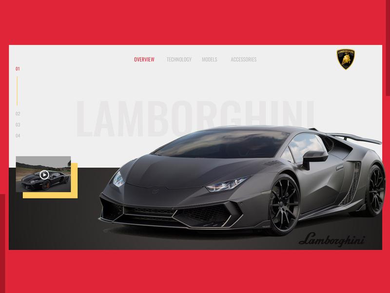 Lamborghini  Banner minimal website typography ui branding web  design web dailyui design dribbble