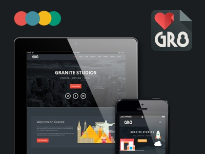 Granite - One Page Template flat flat design twitter bootstrap html template themeforest