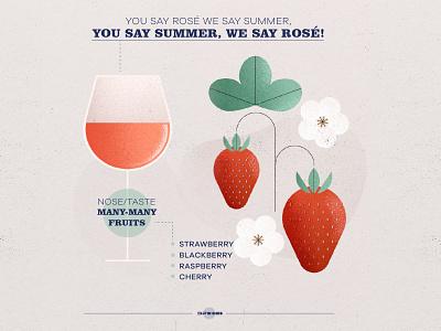 Rosé wine infographic infographic infography summer cherry raspberry blackberry strawberry acid fruit photoshop vector branding illustration art design winery wine label wine rosé