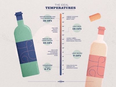 Wine ideal temperatures vector winery summer cork wine logo branding photoshop art design infographic wine glass champagne temperature drink wine