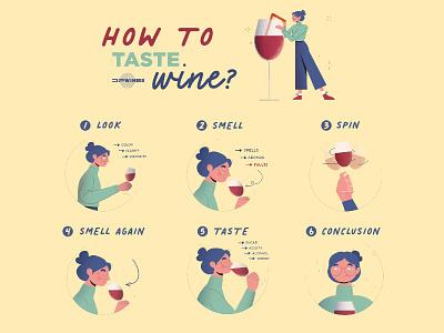 How to taste wine?Infographic instagram wine bottle alcoholic sugar art drink taste look character illustration vector alcohol infographic design wine