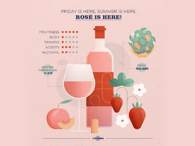 Rosé friday-wine infographic photoshop winery flower alcohol fruit salad strawberry rosé grapes vino wine vector illustration art design