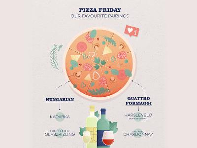 Pizza friday with wine - infographic photoshop vector illustration art design mushroom basil pizza logo salami cheese wine bottle grapes vino wine pizza