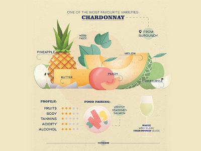 Chardonnay - wine infographic photoshop vector illustration art design alcohol tannin body fruit glass pineapples burgundy melon pineapple chardonnay