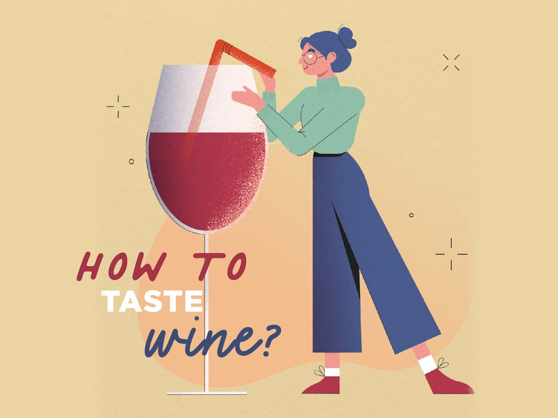 How to taste wine - infographic clothes wine label photoshop vector illustration art design web design character girl fruit study wine glass taste vino wine