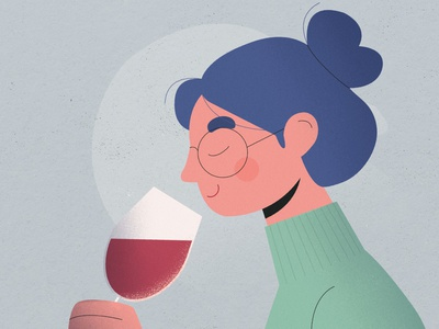 Wine tasting- smell sauvignon cabernet merlot wine label illustration photoshop art design winery hair fruit cute girl woman character young smell taste vino wine