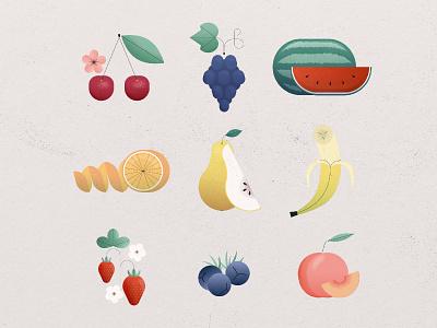 Fruit collections branding people photoshop vector behance illustration art design strawberry peach orange banana grapes cherry