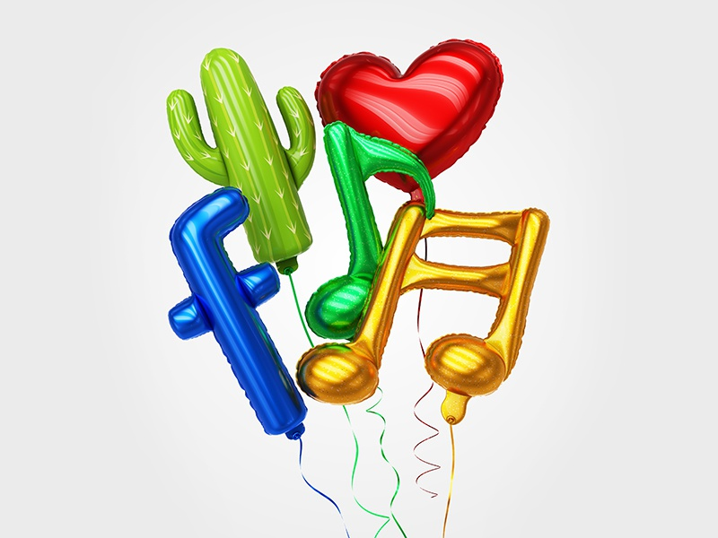 Colorful balloons made of inflatable balloon social media sign notes shiny music helium heart dog decoration circle cactus balloons