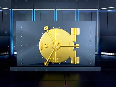 Exim bank animation art behance animation 3d design safe gold tresor money bank