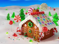 Christmas Gingerbread house in snow