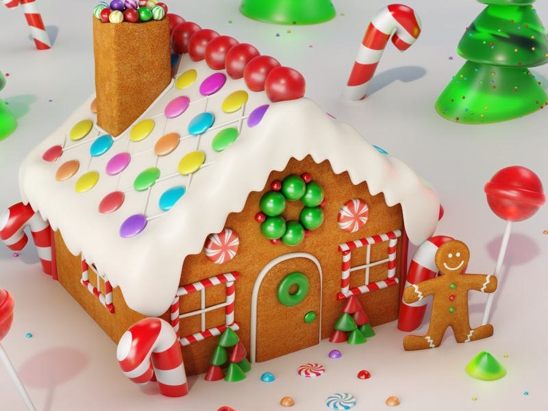 Christmas Gingerbread House Cartoon.Christmas Gingerbread House In Snow By Motionblurstudios On
