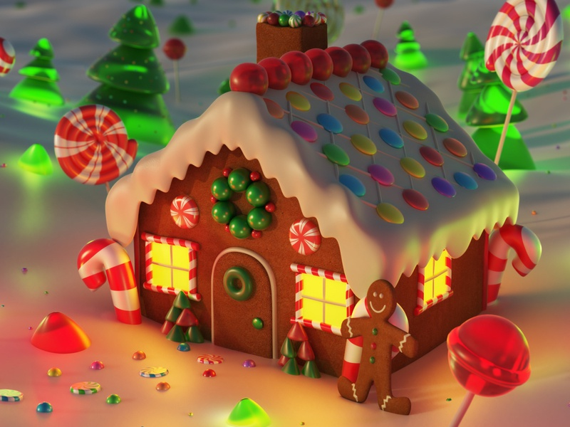 Christmas Gingerbread House.Christmas Gingerbread House In Snow By Motionblurstudios On