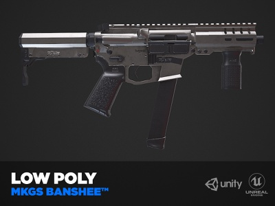 Game ready model of a MKGS BANSHEE unreal engine unity gun game animation shotgun usa weapon photoshop branding 3dsmax illustration 3d animation art behance design low poly game