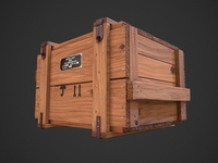 Low poly wooden military box