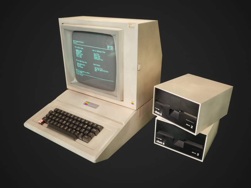 Apple II computer low-poly concept apple design retro low-poly 3dsmax animation 3d art behance design computer game game art game animation computer apple game