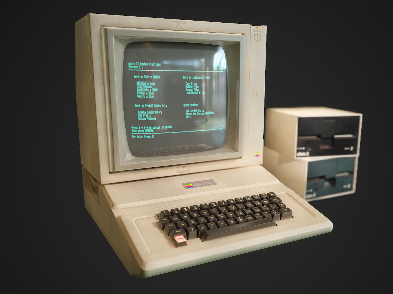Apple II computer low-poly keyboard display apple devices apple design photoshop substance painter marmoset 3dsmax 3d art behance design animation app stevejobs apple