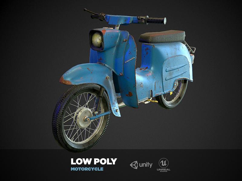 Low Poly Motorbike road city motor oil break vehicle fast wheel photoshop 3dsmax illustration animation 3d art behance design gameart game motorcycle motorbike motor