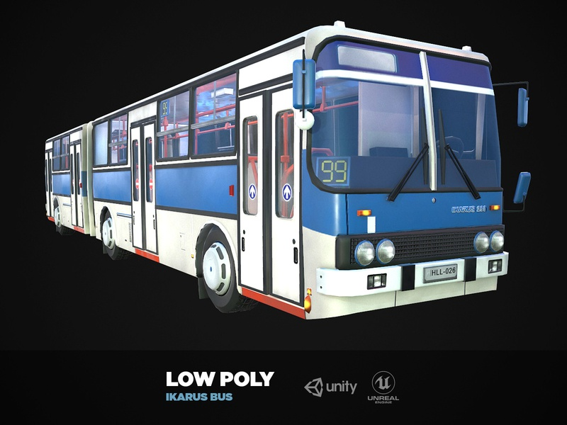 Low Poly Ikarus Bus unrealengine unity low poly game design photoshop 3d animation 3dsmax door window wheel people travel road bus stop ikarus bus