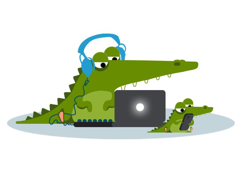 Crocodile at work branding character charachter design water desk work vector artwork son eye vector illustration animation art behance design phone laptop sea kid crocodile