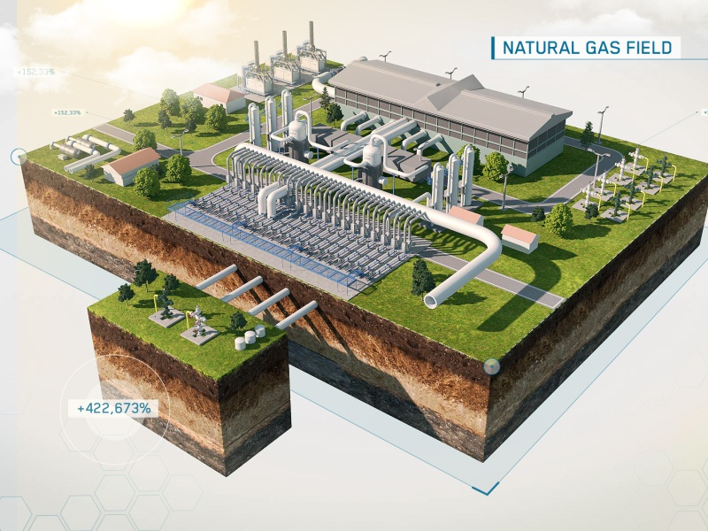 Natural Gas Field field illustration tank fuel after effect animation art design behance 3dsmax render 3d power energy gas motion graphic