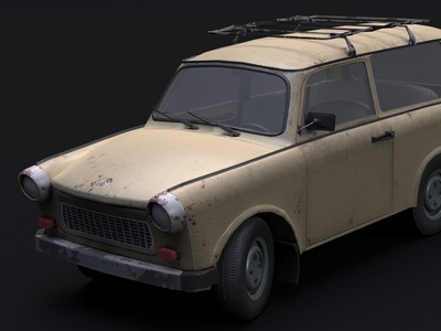 Trabant 601 kombi game speed wheel 3dsmax 3d art design trabant retro 3d model old car
